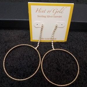 Jewelry - NWT: 14k gold plated dangle hoop earrings
